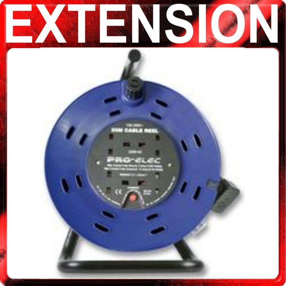 2 X 50m Rallonge Câble Bobines 13A 50 Mètre Résistant 4 Prises 13 Ampères Câble