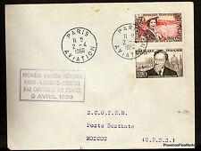 1960 CARAVELLE  PARIS VARSOVIE MOSCOU  Airmail Aviation premier vol AC44