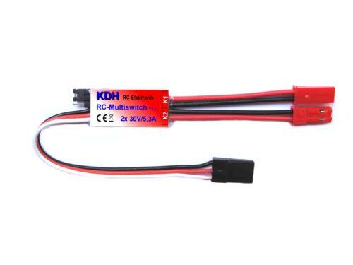 2 Kanal RC-Schalter Multiswitch V2 2x30V//5,3A Schaltmodul mit JST//BEC Steckern