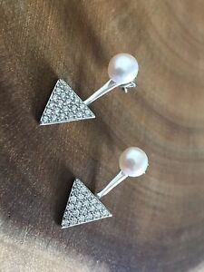 925-Sterling-Silver-Triangle-Front-to-Back-Ear-Jackets-Earrings