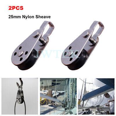 2pcs 25mm Marine Nylon Sheave Pulley Blocks W Removable Bracket