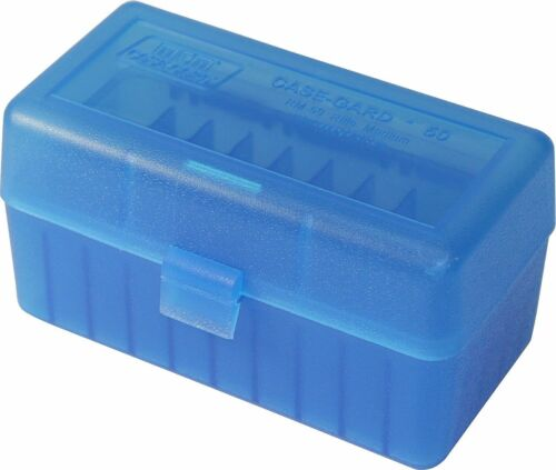 NEW MTM 50 Round Flip-Top 220 Swift 243 308 Win Ammo Box Clear Blue 4 Pack