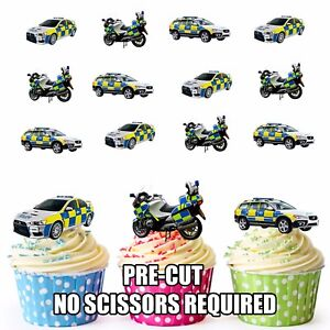 Image Is Loading PRECUT Police Car Motorbike 12 Edible Cupcake Toppers