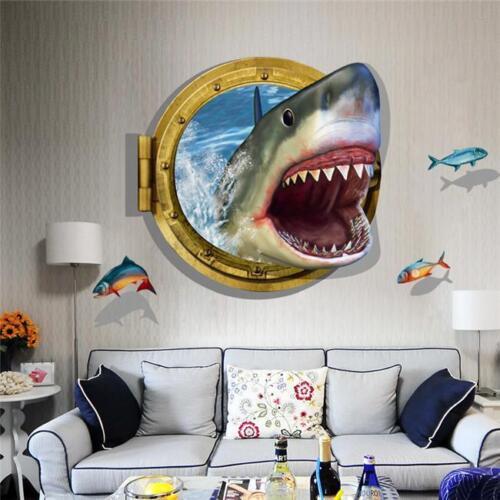 Nouveau Requin Poisson 3D Mur Autocollants Amovible Vinyle Autocollant Enfants Mural Home Decor 6 L