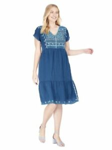 4ce780d2489 Image is loading NEW-JOHNNY-WAS-BLUE-EMBROIDERED-MALIKA-BOHO-SHIFT-