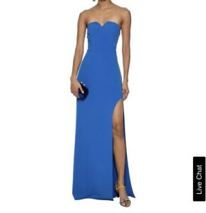 d71b7f98836 Image is loading Halston-Heritage-Womens-Blue-Strapless-Evening-Dress-Gown-