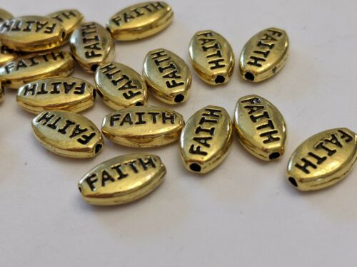 10x6x3mm,Hole 1.5mm Qty30 Tibetan Style Alloy Beads Oval with Word Faith Gold