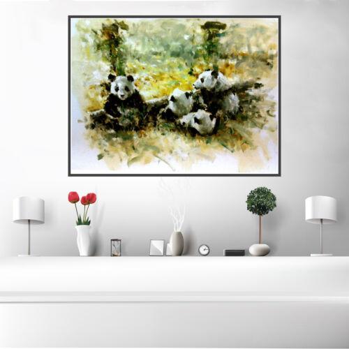 Retro Lion Antelope Elephant Panda Animals Canvas Poster Wall Picture Home Decor