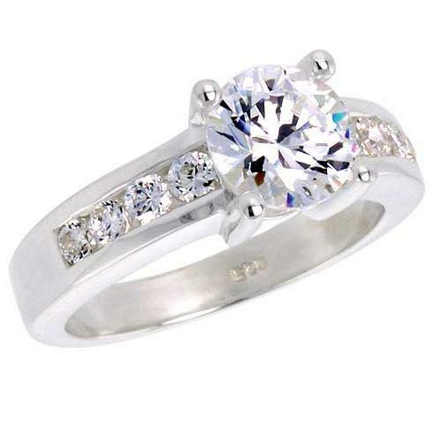 Sterling Silver Engagement CZ Ring w// 7.25mm Brilliant Cut Center Stone 1.5 ct