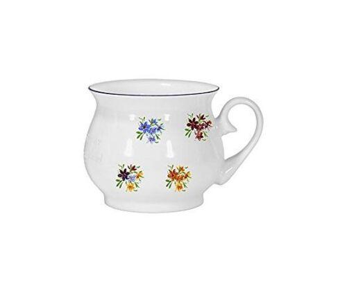 Tasse Kugel Becher mit Farbrand- Motiv 4 Blumen *Porzellan Kaffeepott