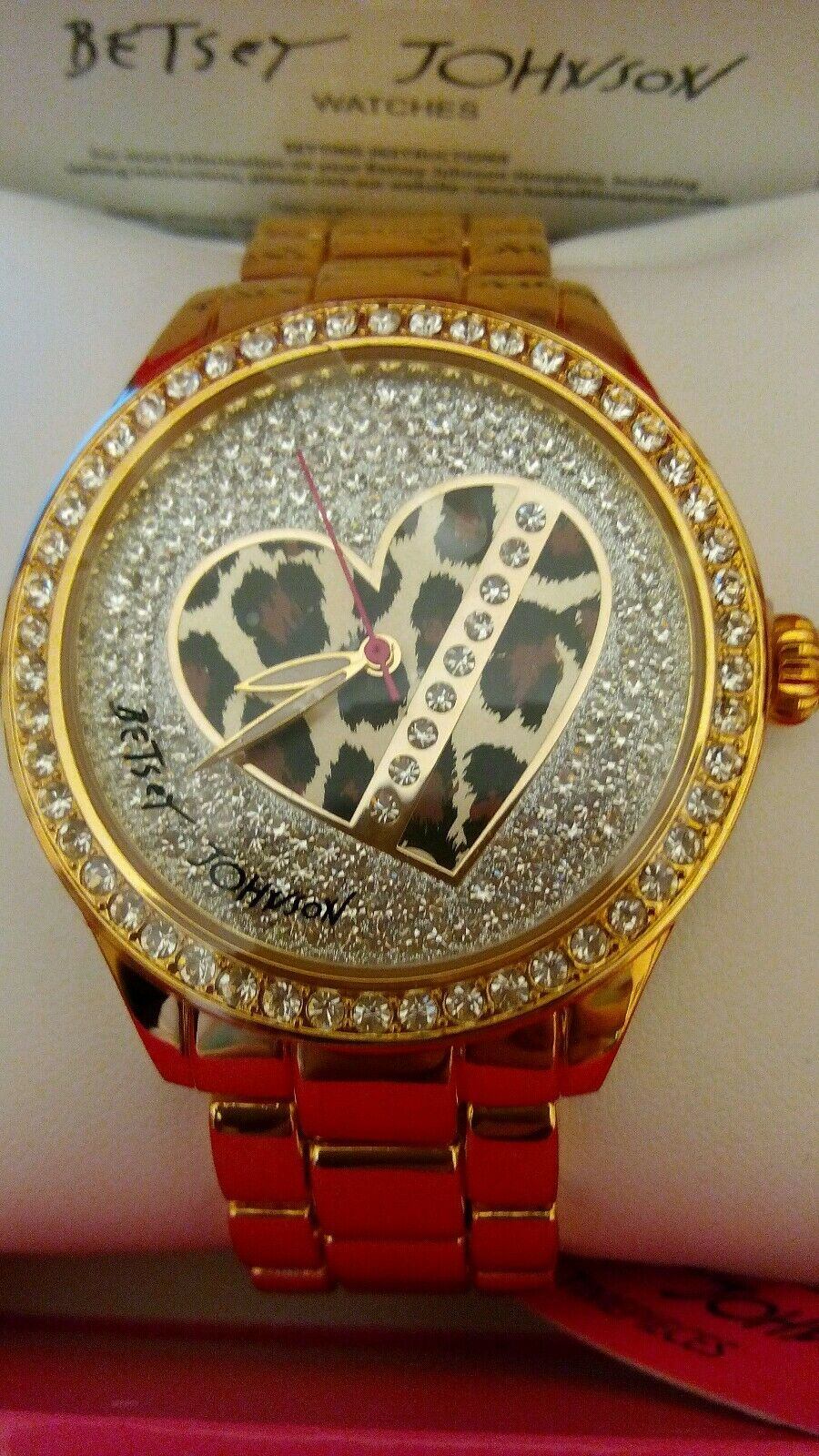 Betsey Johnson gold tone with crystals leopard heart watch