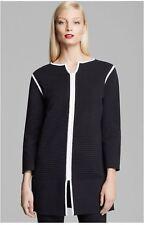 Joan Vass Black White Ottoman Detail Zip Jacket 1 (6-8)