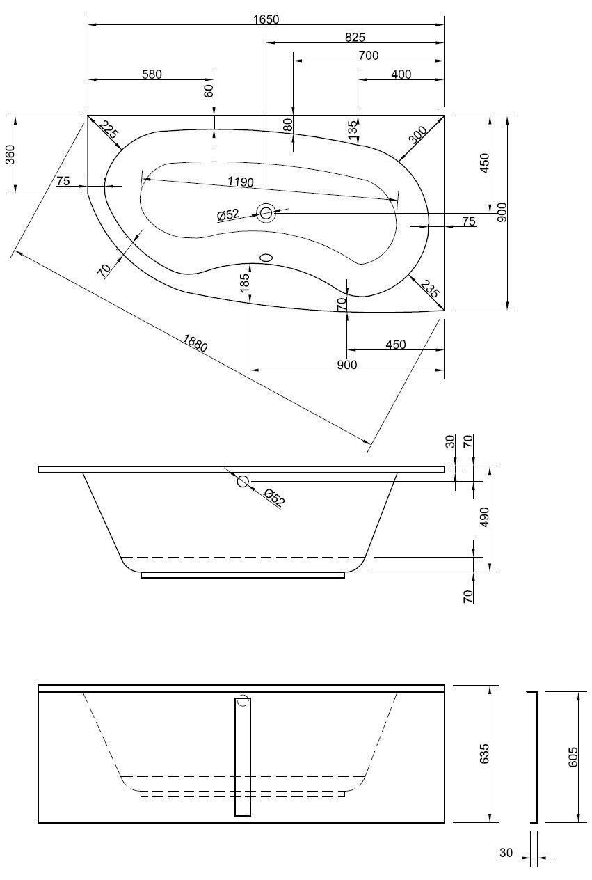 Badewanne-Acryl | Wanne-rechte version version version | 165cm ae8a80