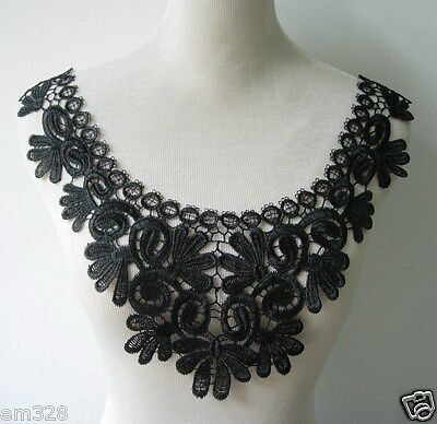 VK280 Floral Collar Neckline Lace Venice Venise Applique Black Sewing/Trim