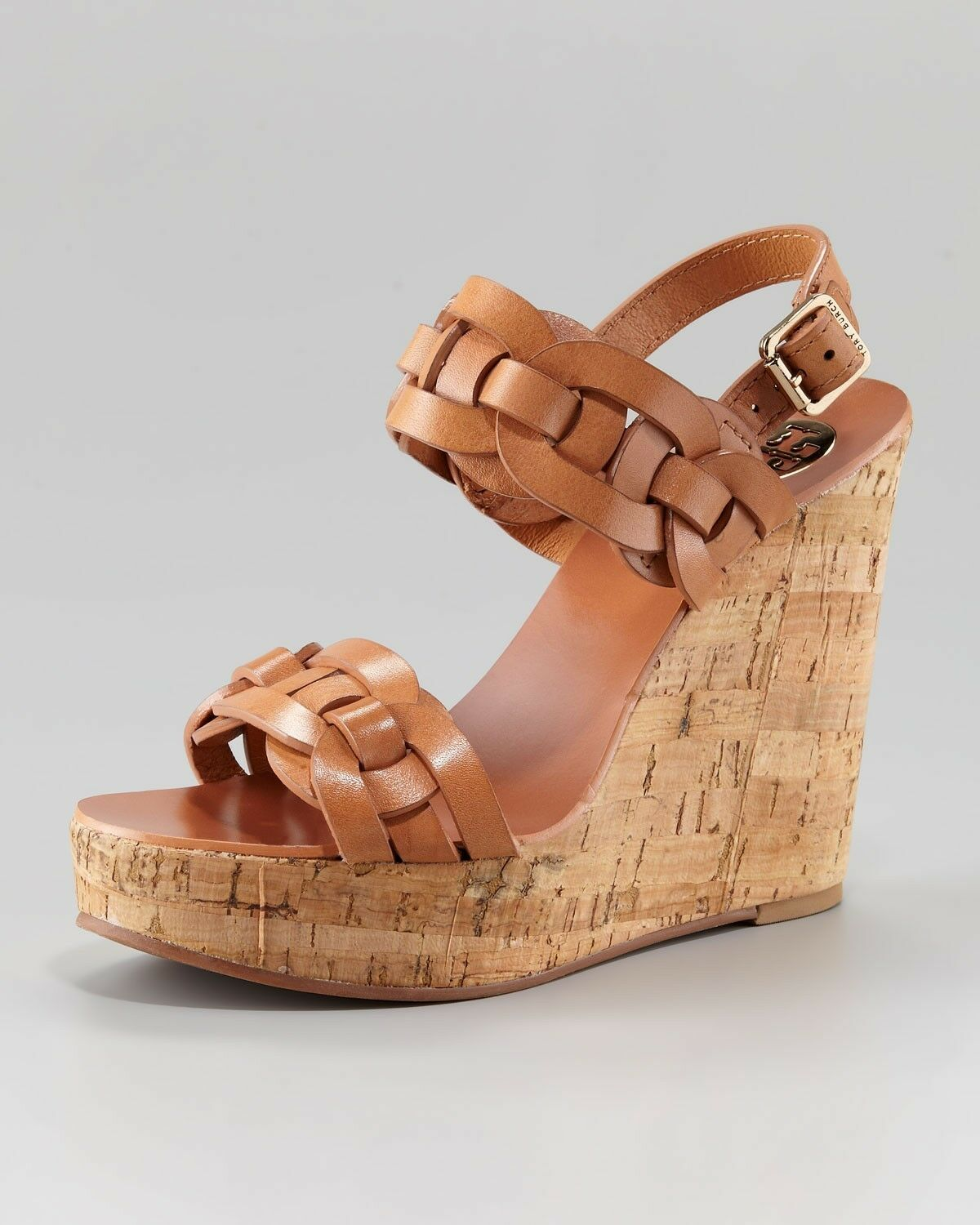 TORY BURCH CALYCA BRAIDED LEATHER GOLD LOGO BUCKLE CORK WEDGES I LOVE SHOES