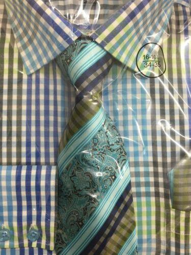 Men/'s Plaid Contrôles Design Robe Chemise Avec Assorti Cravate /& Mouchoir Set #627