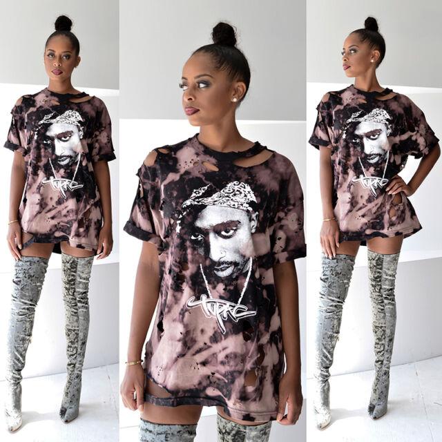 Women's Short Sleeve Tupac Printing Loose Blouse Casual Shirt Tops T-Shirt P2