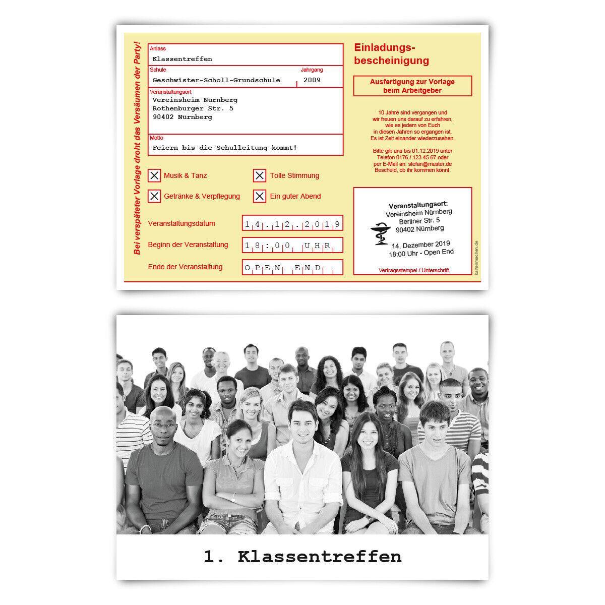 Klassentreffen Einladungskarten individuell Text Foto A6 - Krankschreibung Gelb