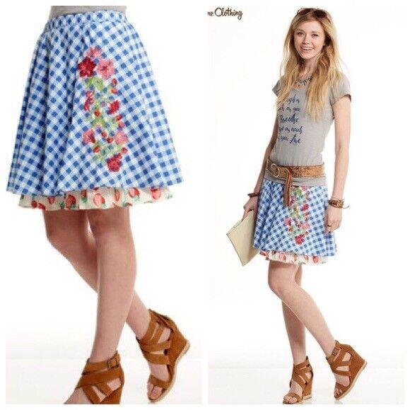 Matilda Jane DUTCH APPLE Skirt bluee Embroidered Happy Free Womens XS S M L NWT