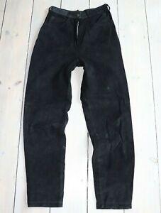 Women-039-s-Vintage-VERA-PELLE-High-Waist-Black-100-Leather-Jeans-Trousers-W25-L30
