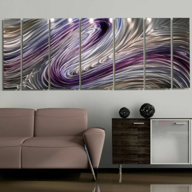 Large Purple/silver Modern Contemporary Metal Wall Art Painting by ...