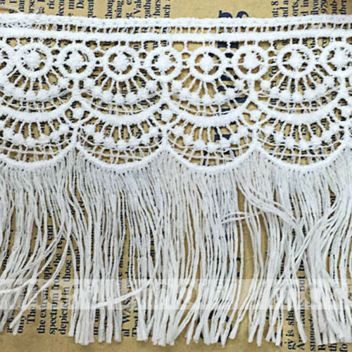 2 Yards White Crochet Polyester Fringe Lace Trim Embroidery Ribbon Sewing 9cm