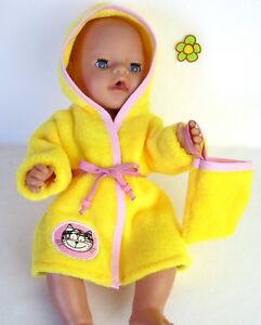 BABY BORN Helees Puppe Babypuppe Kleid Kleidung Bademantel Kleidchen Anzuzg Babypuppen & Zubehör