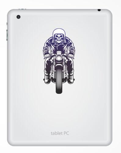 2 x 10 cm Crâne Biker vinyle autocollant ordinateur portable Boîte à outils moto moto motard # 6443