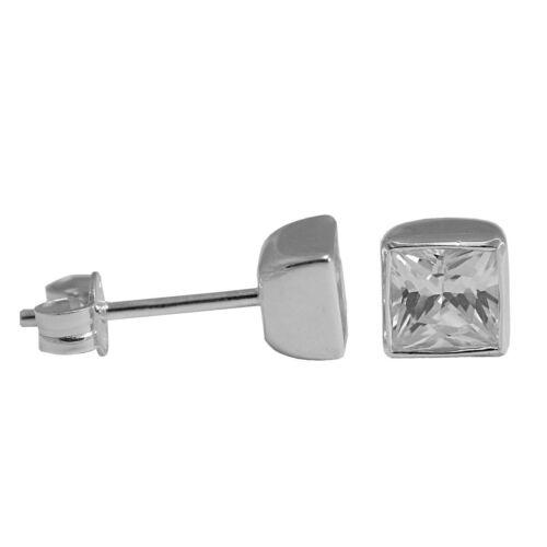 1 par pendientes con cuadrangular circonita 925 Sterling plata