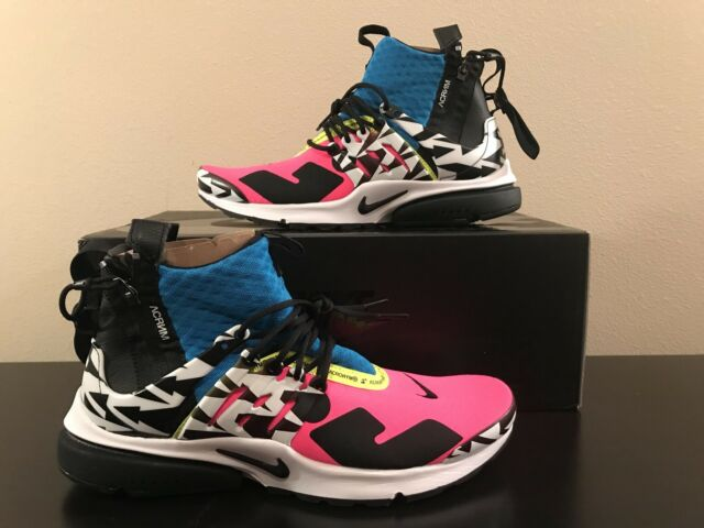 new arrival 10309 b40bf Nike Air Presto Mid Acronym Racer Pink Blue Black AH7832-600 Size 10