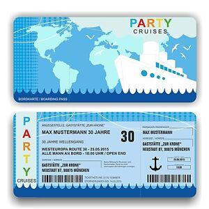 Carte postale Invitation Anniversaire Invitation bateau croisière carte d'embarquement billet ...
