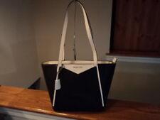 f6559b6d478e36 Michael Kors Whitney Small Top Zip M Tote Black/ Optic White Pebbled Leather