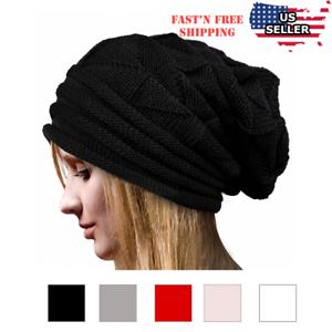 Women Fashion Cable Knit Wool Winter Warm Hat Soft Slouchy Beanie ... 50bce10bdba