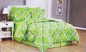 Moroccan-Lattice-Queen-Comforter-Sheet-Set-Reversible-Shams-Bedskirt-8pc-New