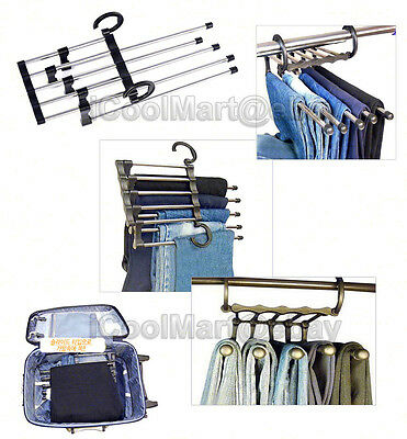 5-in-1 Retractable Stainless Steel Pants Trousers Hanger Rack Closet Organizer