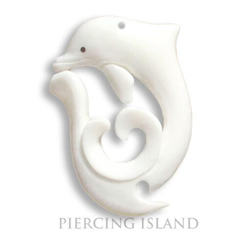 Delfin Dolphin Amulett Anhänger Horn Bone Maori Knochen Design PB110