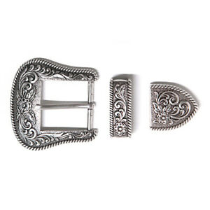 Western-Retro-Floral-Engraved-Antique-Belt-Buckle-Set-3pcs-Fits-25mm-Strap-Decor