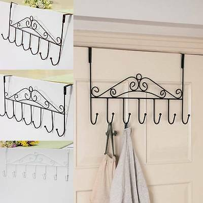 Hat Bag Towel Coat Clothes Over Door Hanger Bathroom Hanging Rack Holder 5 Hooks