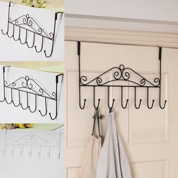 Hat Bag Towel Coat Clothes Over Door Hanger Bathroom Hanging Rack Holder 5 Hooks