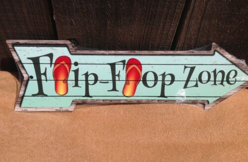 """Flip Flop Zone This Way To Arrow Sign Directional Novelty Metal 17/"""" x 5/"""""""