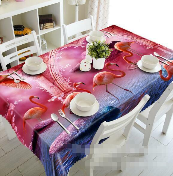 3D Flamingo 87 87 87 Tablecloth Table Cover Cloth Birthday Party Event AJ WALLPAPER UK cdc5d1
