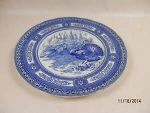 Image is loading 2-Antique-Royal-Doulton-Turkey-Dinner-Plates-Blue- & 2 Antique Royal Doulton Turkey Dinner Plates Blue \u0026 White Geometric ...