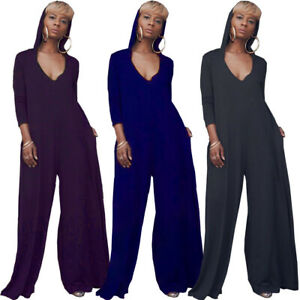 Details about Women's Hooded Long Sleeves Solid Color Pockets Wide Leg Loose Jumpsuit Casual