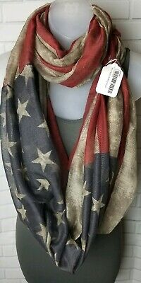 AMERICAN FLAG SCARF STARS AND STRIPES 4th of July PATRIOTIC INFINITY Wrap