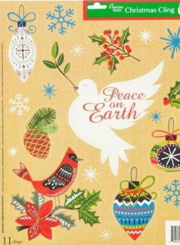 "Christmas Window Clings Peace on Earth Ornaments 11 Clings 11.7/""X14.5/"" Sheet"
