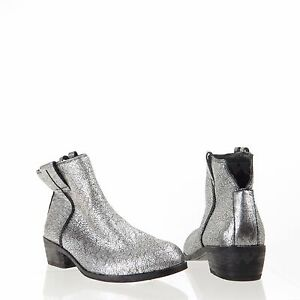 b7cffd726ccd Sam Edelman James Women s Shoes Silver Leather Ankle Boots Size 6 M ...