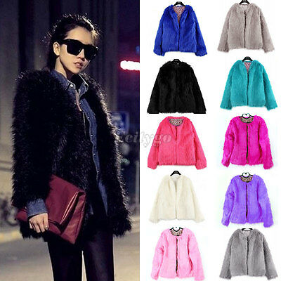 New Ladies Womens Warm Faux Fur Fox Coat jacket Winter Parka Outerwear