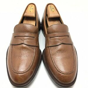 A-Testoni-For-Wilkes-Bashford-Men-s-Brown-Pebbled-Leather-Penny-Loafer-US-9-5-M