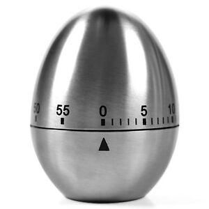 Round 60 Minutes Stainless Steel Egg Timer Kitchen Countdown Cooking Baking New