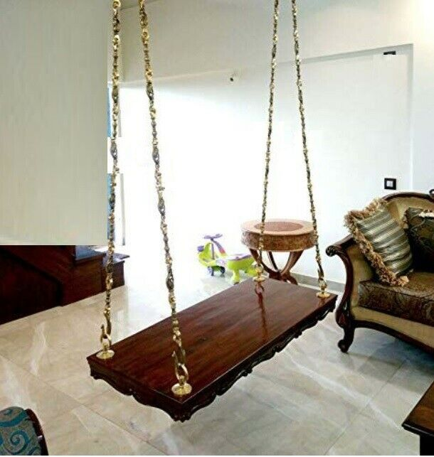 Ceiling Wooden Swing With Cushion Cover Indian Handmade Love Seat Metal Chain For Sale Online Ebay
